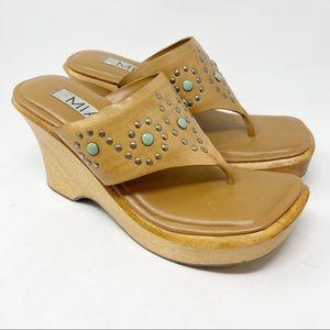 Vintage MIA Womens Y2K Brown Platform Sandals